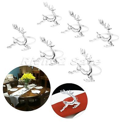 6 x Deer Napkin Rings Silver Table Decoration Christmas Party Serviette Holder