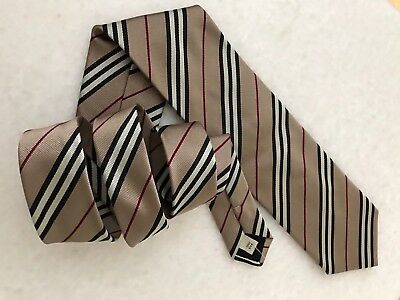 Men's Burberry Of London Silk Striped Neck Tie Made In Italy