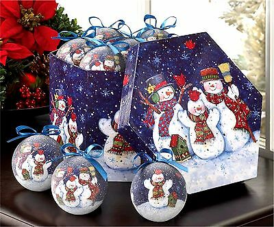 Set of 12 Ornaments & Box ** WINTERY NIGHT SNOWMAN ORNAMENT BOX SET * NIB
