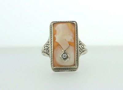 14K White Gold Filigree Carved Shell Cameo with Necklace Ring - Size 6.75
