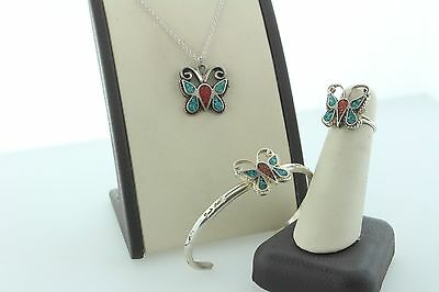 Handmade Southwestern Coral and Turquoise Inlay Sterling Silver Butterfly Set