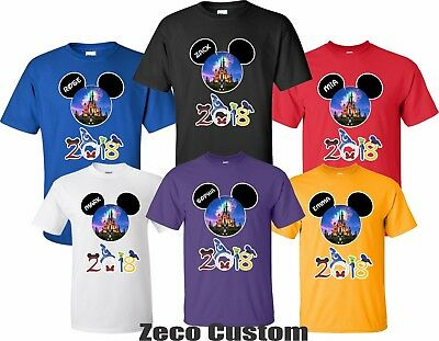 FAMILY VACATION Disney New 2018 T-Shirts WITH CUSTOM NAMES Mickey & Minnie