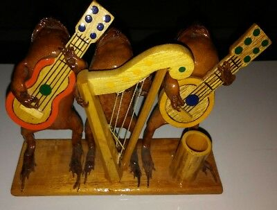 Vintage Real Taxidermy Frog Musicians Playing Instruments Guitar Harp Banjo