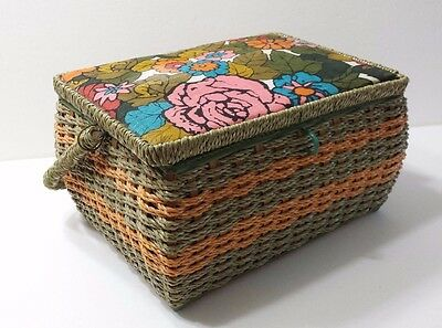 Vintage Sewing Box Basket Flower Green and Orange Cloth Top & Lined with Handle