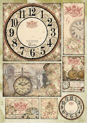 1 Blatt Decoupage Papier Clock and roses  Stamperia