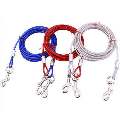 3m/5m/10m Dog Tie-Out Cable Leash Steel Wire Chain Leash Lead Strap Walking