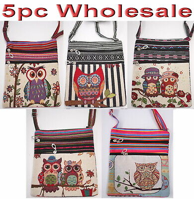6pc Wholesale Owl Canvas Long Crossbody Handbag Women Girl Bag Mixed