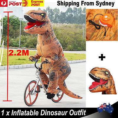 2.2M Inflatable Dinosaur Suit Adult Halloween Costume T-REX Jurassic Fancy Dress
