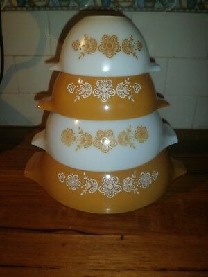 PYREX CINDERELLA NESTING MIXING BOWLS ~ BUTTERFLY GOLD ~ VINTAGE RETRO 1970's