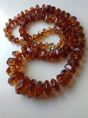 Antique Baltic Cognac Honey Faceted Amber Necklace Beads
