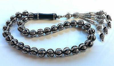 Genuine Erzurum Oltu, black Amber Silver inlaid Prayer Beads