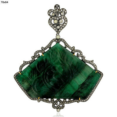 Carved Emerald Diamond 18K Gold 925 Sterling Silver Pendant Gift Jewelry