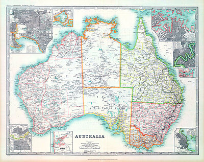 Australia 1911 Vintage A1+ High Quality Canvas Print