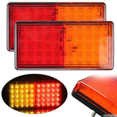 1 Pair Plastic Rear Taillights 50 LED Truck Trailer Left Right Brake Tail Lights