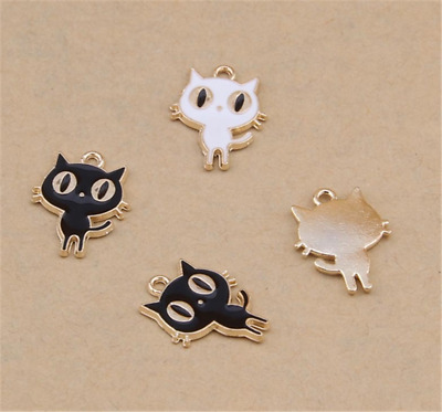 P475 6pc/20pc Charms cat Pendant Beads Necklace Jewellery Making Enamel