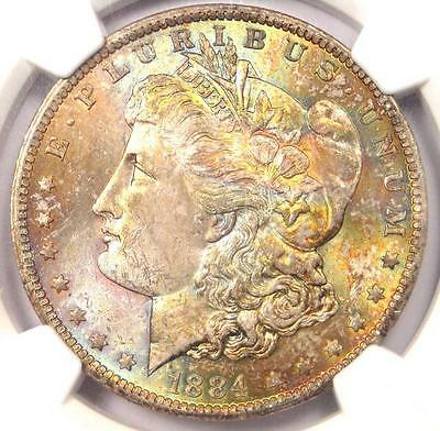1884-O Toned Morgan Silver Dollar $1 - NGC MS63 - Nice Rainbow Toning!