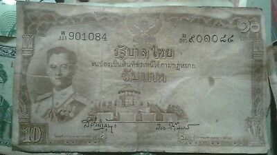 10 Baht Thai Banknote / Paper Money 1953 – 1 Banknote – As in Photo