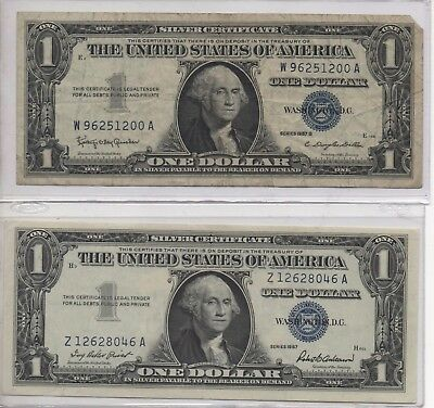 USA - 2x Blue Seal - One Dollar Bank Notes in good condition