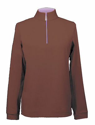 NEW Equi In Style Ladies Cool Zip Shirt - Mocha/Lavender - X-Small