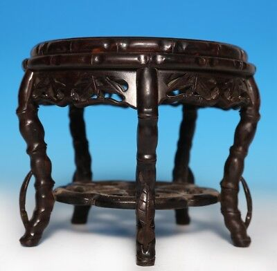 Exquisite Unique Old Chinese Handmade Round Stool Wooden Seat Marked US242
