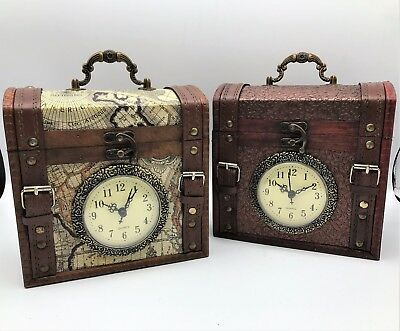 Rustic Colonial Steampunk Box Clock with Inner Storage