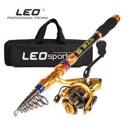 Telescopic Rock Sea Fishing Spinning Lure Rod Pole Spinning Reel Combos with Bag