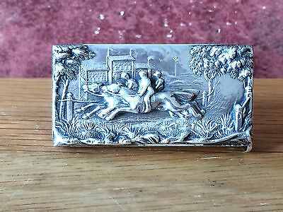 Antique 1894 Victorian Silver Repousse Horse Racing Vesta Case by William Neale