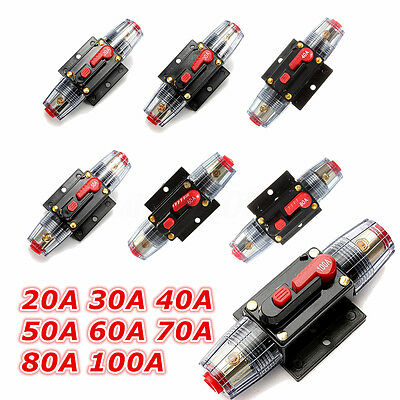 DC 12V-24V Auto Car Marine Bike Stereo Audio Circuit Breaker Reset Fuse Inverter