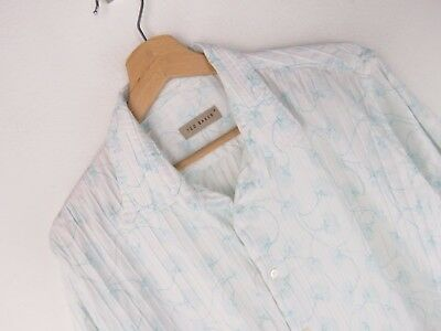 f65a9b675 RP067 TED BAKER SHIRT TOP ORIGINAL PREMIUM VINTAGE FADED STRIPED TEXTURED  size 4