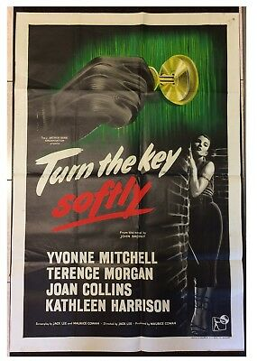 JOAN COLLINS - YVONNE MITCHELL - Rare UK 1-Sheet Poster TURN THE KEY SOFTLY 1953
