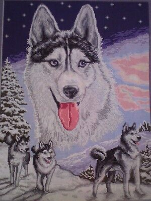 Hand Made Completed, Husky Picture Goblen Tapestry,wall Hanging,  Embroidery