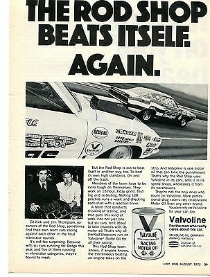 1972 Valvoline Racing Motor Oil Ad w/ Bob Riffle Demon & Jim Thompson Challenger