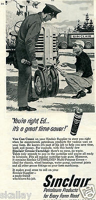 1959 Print Ad of Sinclair Grease Cartridge farmer working on a tractor