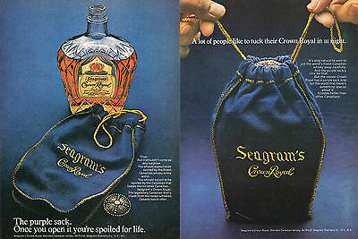 1972 Seagram's Crown Royal Whisky 2 Separate Print Ads