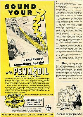 1945 Pennzoil Farm Oils & Lubricants for Winter Sound Your Z Print Ad