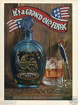1970 Print Ad of Ezra Brooks Bourbon Whiskey The American Eagle Flsk