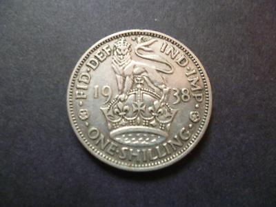 1938 One Shilling Coin The English Type Good Circulated Condition, 50% Silver.