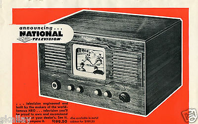 1948 Print Ad of National Company Inc TV Television