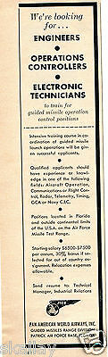 1956 Print Ad Pan American World Airways PAA Guided Missile Operation Positions