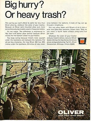 1968 Oliver 575 Plow & Farm Tractor Print Ad