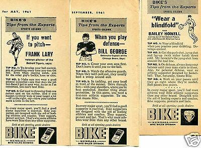 1961 Bike Athletic Supporter 3 Print Ads Bill George Bailey Howell Frank Lary