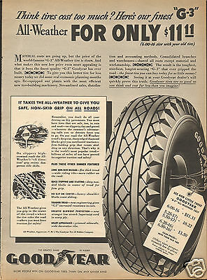 1940 Goodyear G-3 All-Weather Car Tire Print Ad ^