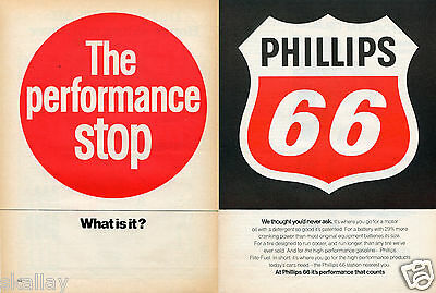 1970 2 Page Print Ad of Phillips 66 Motor Oil the performance stop