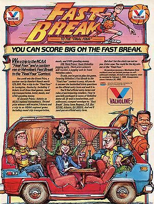 1985 Valvoline Oil Company Fast Break To The Final Four NCAA Contest Print Ad