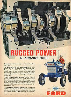 1965 Print Ad of Ford 5000 Farm Tractor Rugged Power