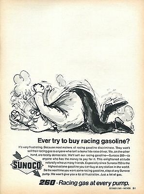 1969-1970 Sunoco 260 Racing Gas at Every Pump Frustration Print Ad