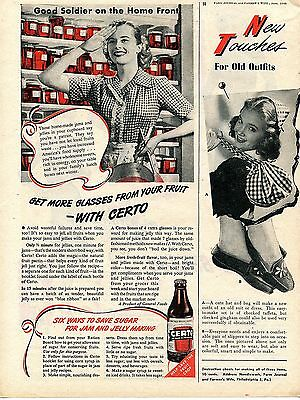 1945 Certo for Jelling All Fruits & Juices Good Soldier on the Home Front Ad