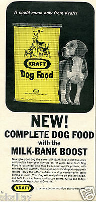 1964 Print Ad of Kraft Dog Food Milk-Bank Boost with beagle