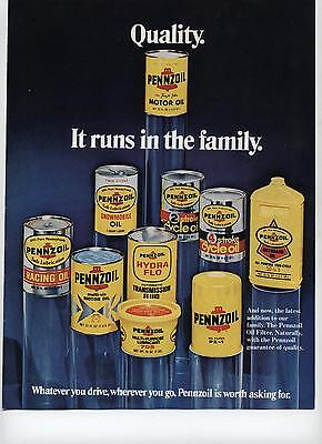 1973 Pennzoil Quality Runs In The Family Product Line Print Ad