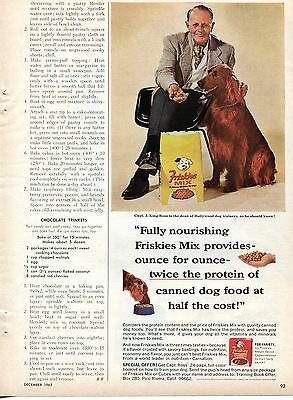 1965 Friskies Mix Capt. J. King Ross Dog Food Print Ad